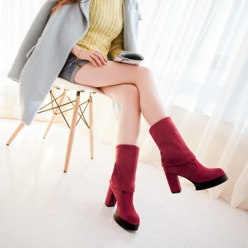 Round Waterproof Platform Rough with High Heel Sexy Wear Two High Boots - RED 34