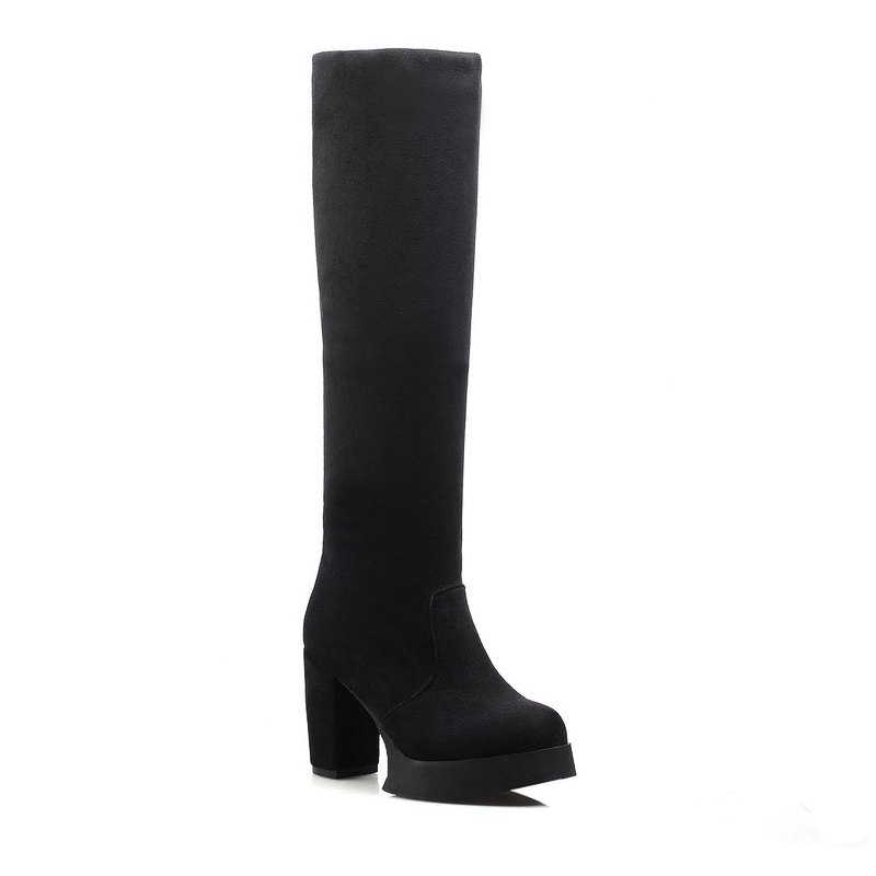Round Waterproof Platform Rough with High Heel Sexy Wear Two High Boots - BLACK 35