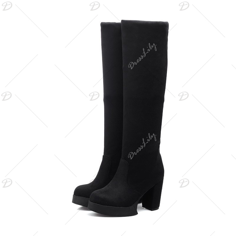 Round Waterproof Platform Rough with High Heel Sexy Wear Two High Boots - BLACK 34