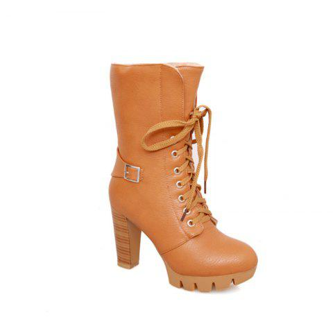 Round Waterproof Platform Rough with High-Heeled Fashion Two Wear Short Boots - YELLOW 37