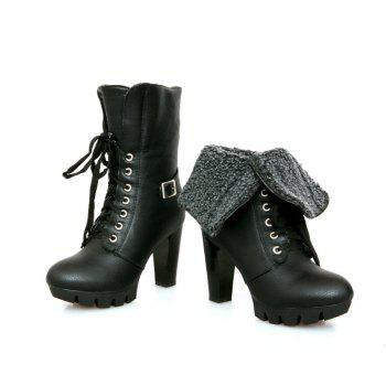 Round Waterproof Platform Rough with High-Heeled Fashion Two Wear Short Boots - BLACK BLACK