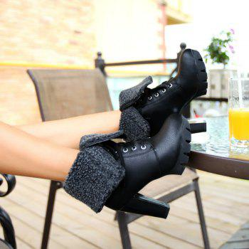 Round Waterproof Platform Rough with High-Heeled Fashion Two Wear Short Boots - BLACK 38