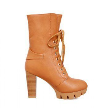 Round Waterproof Platform Rough with High-Heeled Fashion Two Wear Short Boots - YELLOW 39