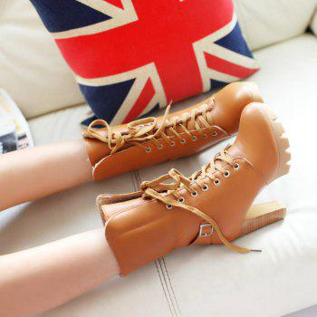 Round Waterproof Platform Rough with High-Heeled Fashion Two Wear Short Boots - YELLOW YELLOW