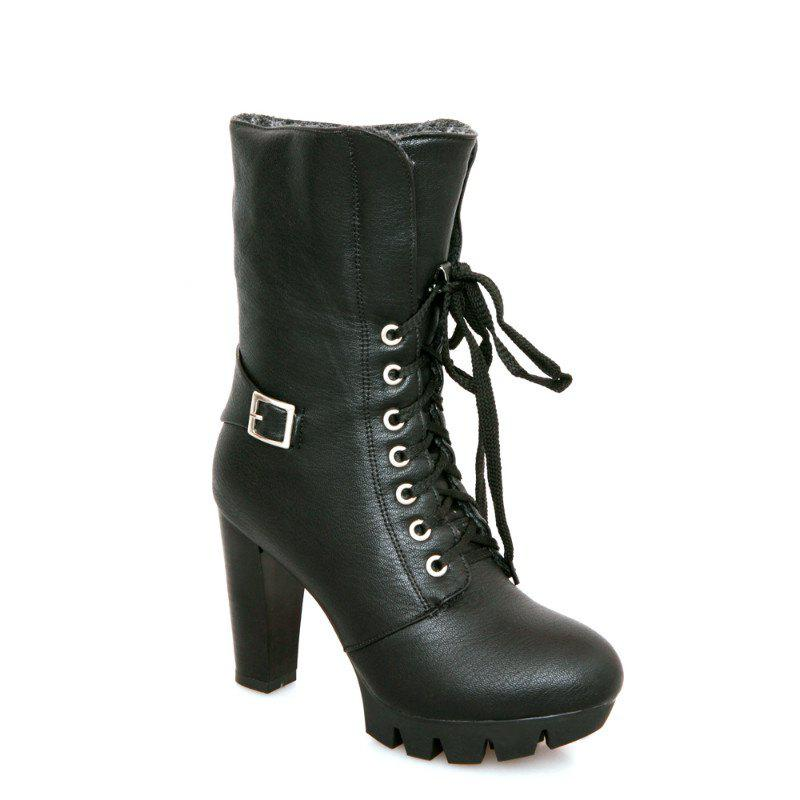 Round Waterproof Platform Rough with High-Heeled Fashion Two Wear Short Boots - BLACK 37