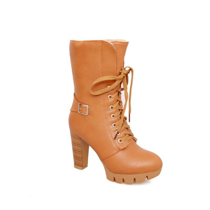 Round Waterproof Platform Rough with High-Heeled Fashion Two Wear Short Boots - YELLOW 38