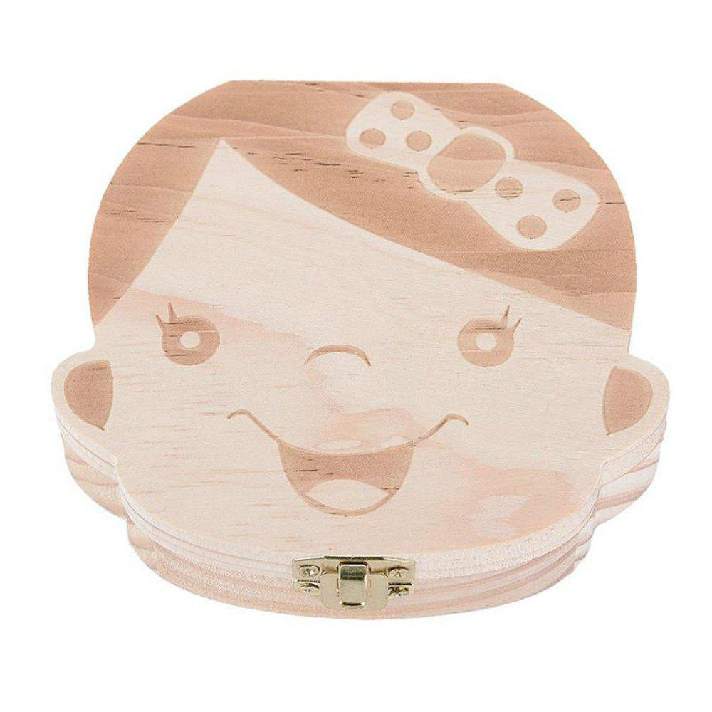 Baby Organizer Dental Teeth Box Milk Tooth Wooden Container - WOOD