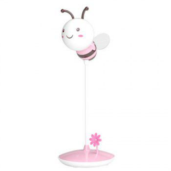 Cartoon Bee LED Lamp USB Charging Touch Dimming Pink White Light -  PINK