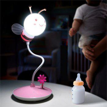 Cartoon Bee LED Lamp USB Charging Touch Dimming Pink White Light - PINK PINK