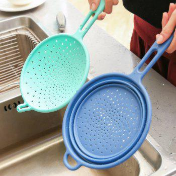 Silicon Noodle Dumpling Strainer Spoon Kitchen Food Large Home Colander High Temperature Resistance 2 Pcs - BLUE