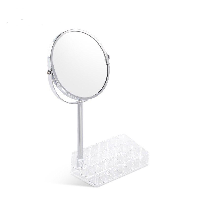 European Round Shaped Double-Side Beauty Makeup Mirror Standing - TRANSPARENT