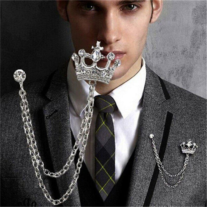 Gleiny diamond crown styling men's Suit Brooch - SILVER