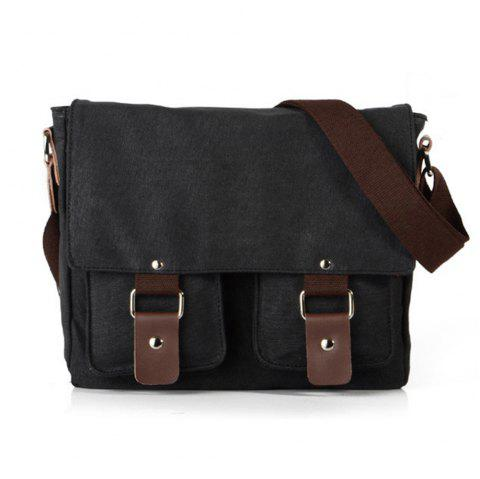 Men Canvas Bags Women Casual Cover Messenger Bag Double Wear-resisting Student Satchel - BLACK