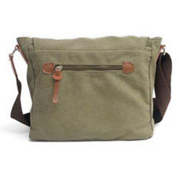 Men Canvas Bags Women Casual Cover Messenger Bag Double Wear-resisting Student Satchel - ARMY GREEN