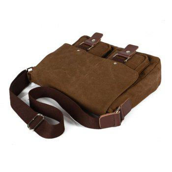 Men Canvas Bags Women Casual Cover Messenger Bag Double Wear-resisting Student Satchel - COFFEE