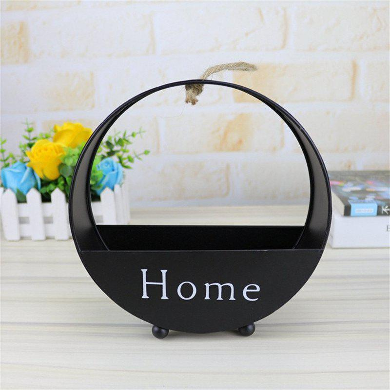 Wall decoration of round type iron hanging wall - BLACK 6.2CM X 20CM