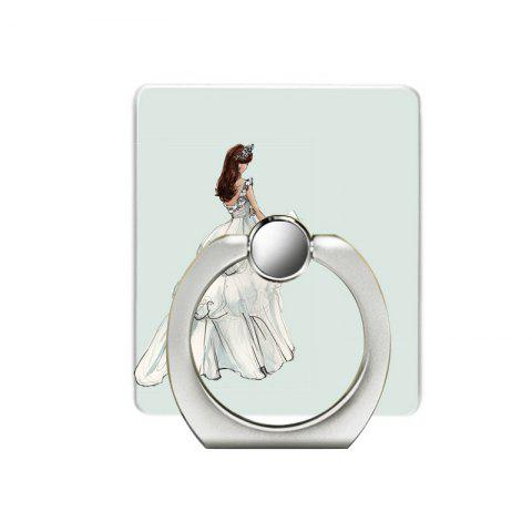 Butterfly Girl Pattern Cell Phone Ring Stand Holder for Phone - WHITE