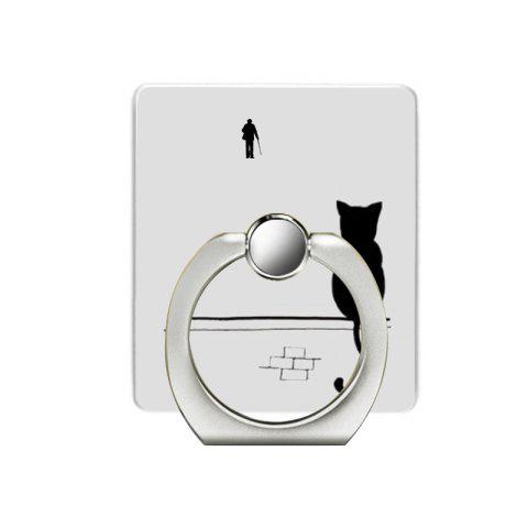 Cat Pattern Cell Phone Ring Stand Holder for Phone - SILVER