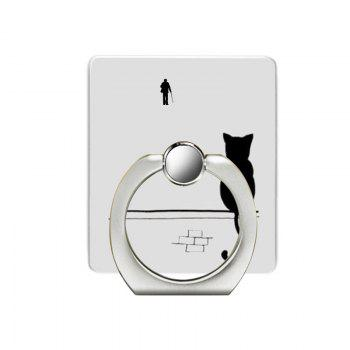 Cat Pattern Cell Phone Ring Stand Holder for Phone - SILVER SILVER