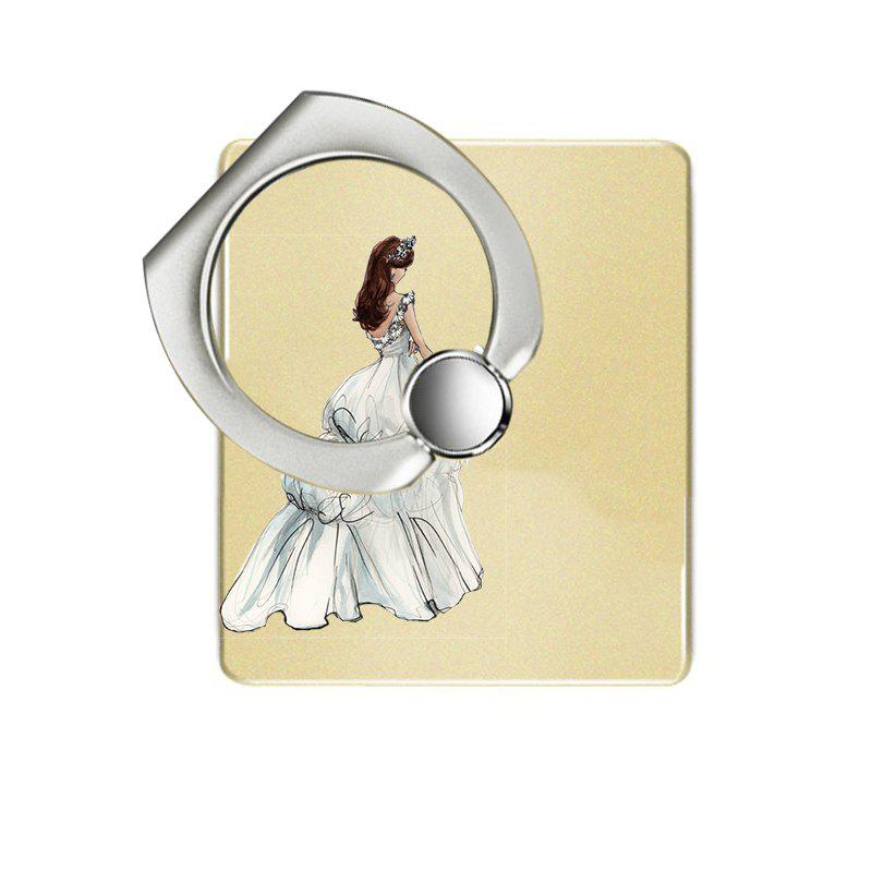 Wedding Girl Pattern Cell Phone Ring Stand Holder for Phone 360 Degrees Rotation - YELLOW
