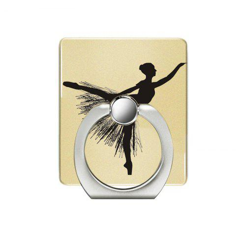 Dancing Girl Pattern Cell Phone Ring Stand Holder for Phone 360 Degrees Rotation - YELLOW