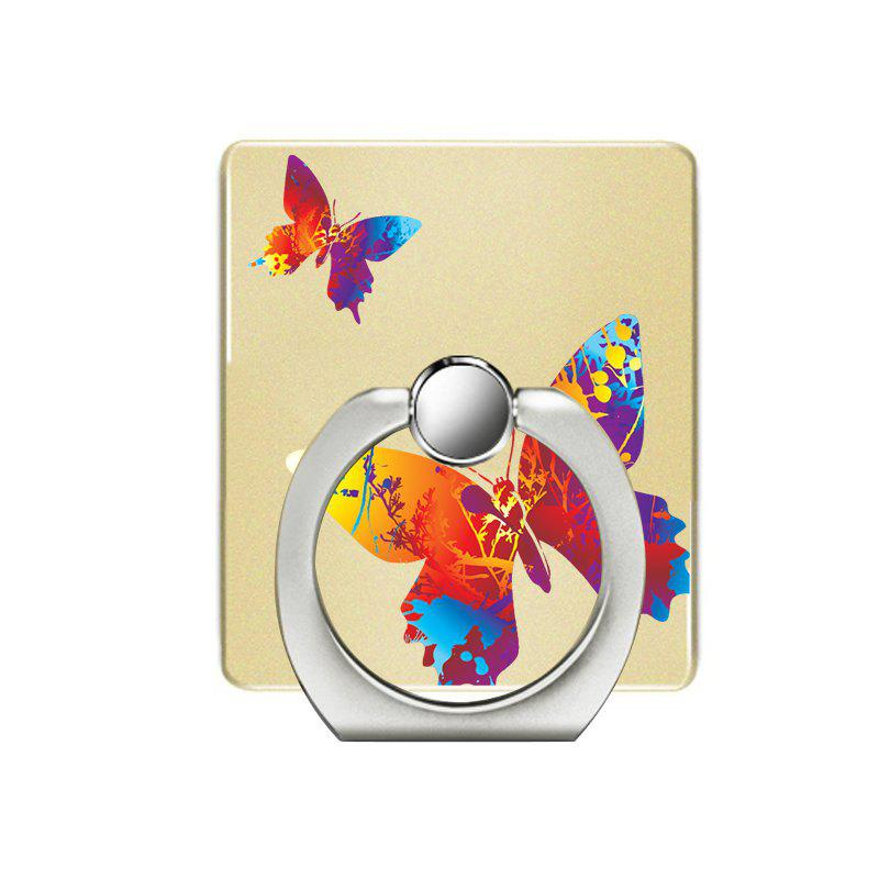 Color Butterfly Pattern Cell Phone Ring Stand Holder for Phone 360 Degrees Rotation - YELLOW