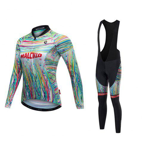 Malciklo 18 Malciklo Cycling Jersey Winter Warm with Bib Tights Women's Long Sleeves Bike Compression Suits Quick Dry - BLACK 2XL