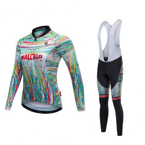 Malciklo 18 Malciklo Cycling Jersey Winter Warm with Bib Tights Women's Long Sleeves Bike Compression Suits Quick Dry - WHITE M