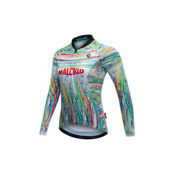 Malciklo 18 Malciklo Cycling Jersey Winter Warm with Bib Tights Women's Long Sleeves Bike Compression Suits Quick Dry - BLACK M