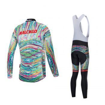 Malciklo 18 Malciklo Cycling Jersey Winter Warm with Bib Tights Women's Long Sleeves Bike Compression Suits Quick Dry - WHITE 2XL