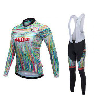 Malciklo 18 Malciklo Cycling Jersey Winter Warm with Bib Tights Women's Long Sleeves Bike Compression Suits Quick Dry - WHITE WHITE
