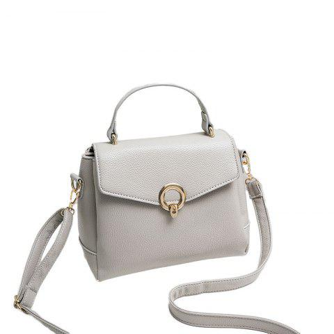 Ladies Casual Bag Cover Lock Crossbody Bag - WHITE