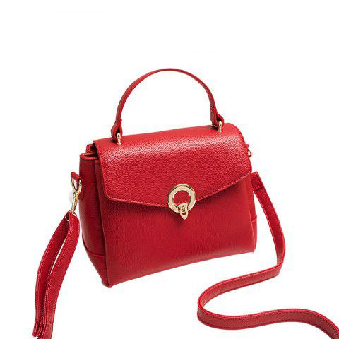 Ladies Casual Bag Cover Lock Crossbody Bag - RED