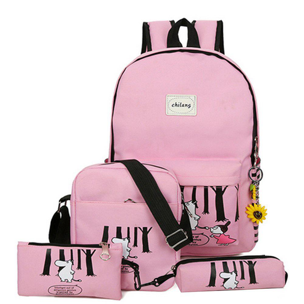 Girl's Bags Set Cartoon Pattern Simple School Backpack Set - PINK