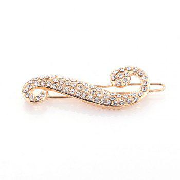 Women's Hairpin Sweet Musical Note Sumptuous Rhinestone Inlay Pin Accessory - GOLDEN