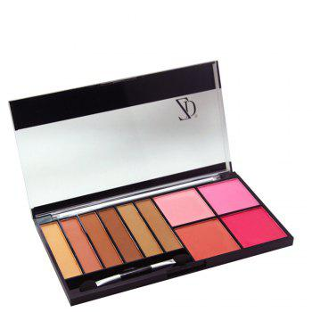 ZD F2070 6 Colors Eyeshadow 4 Color Blusher Palette 1pc - 01#