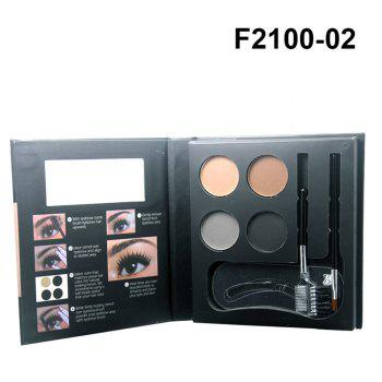 ZD F2100 4 Colors Eyebrow Powder + 2Pcs Makeup Brush + 3Pcs Eyebrow Stencils 1PC -