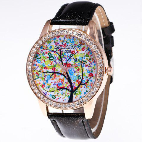 ZhouLianFa New Trend Crystal Pattern Rose Gold Diamond Business and Leisure Landscape Tree Quartz Watch with Gift Box - BLACK