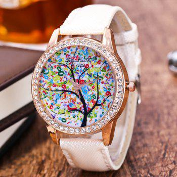 ZhouLianFa New Trend Crystal Pattern Rose Gold Diamond Business and Leisure Landscape Tree Quartz Watch with Gift Box - WHITE
