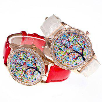 ZhouLianFa New Trend Crystal Pattern Rose Gold Diamond Business and Leisure Landscape Tree Quartz Watch with Gift Box -  RED