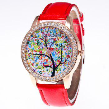 ZhouLianFa New Trend Crystal Pattern Rose Gold Diamond Business and Leisure Landscape Tree Quartz Watch with Gift Box - RED RED