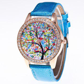 ZhouLianFa New Trend Crystal Pattern Rose Gold Diamond Business and Leisure Landscape Tree Quartz Watch with Gift Box - BLUE BLUE