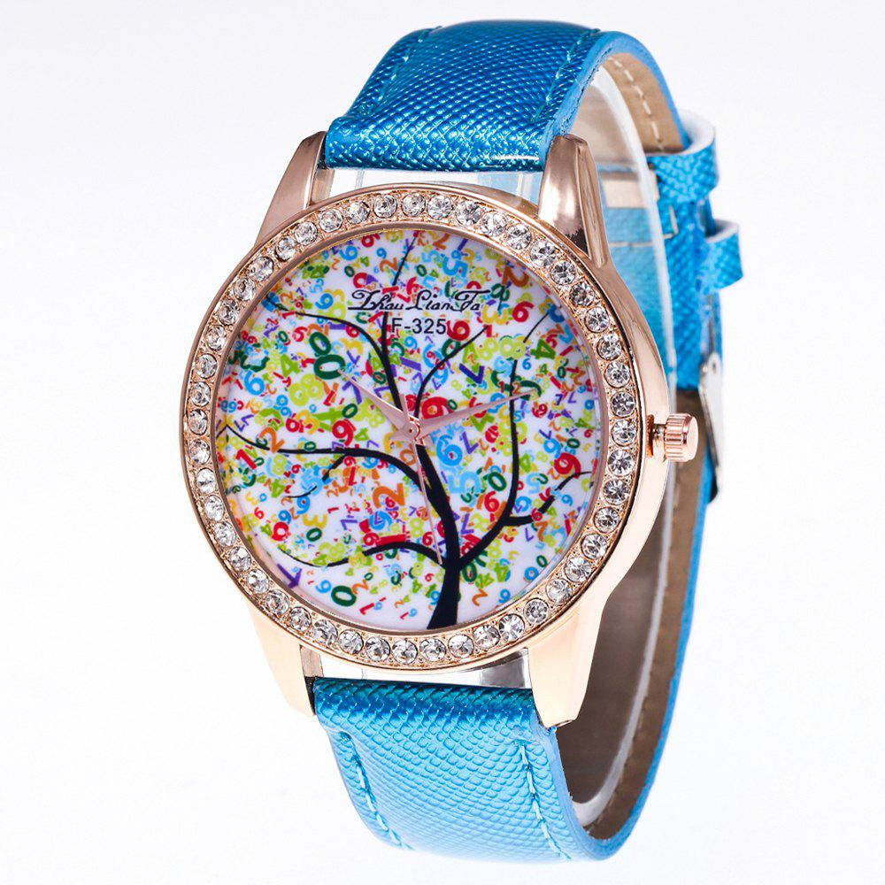 ZhouLianFa New Trend Crystal Pattern Rose Gold Diamond Business and Leisure Landscape Tree Quartz Watch with Gift Box - BLUE