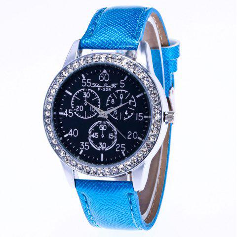 ZhouLianFa New Trend Crystal Pattern Silver Diamond Business Casual Three Quartz Watch with Gift Box - BLUE