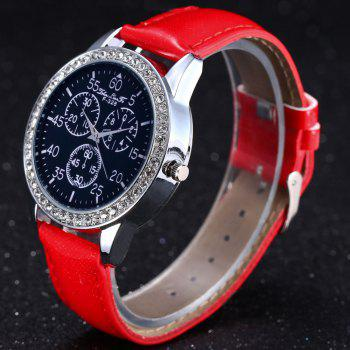 ZhouLianFa New Trend Crystal Pattern Silver Diamond Business Casual Three Quartz Watch with Gift Box -  RED