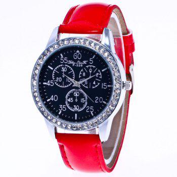 ZhouLianFa New Trend Crystal Pattern Silver Diamond Business Casual Three Quartz Watch with Gift Box - RED RED