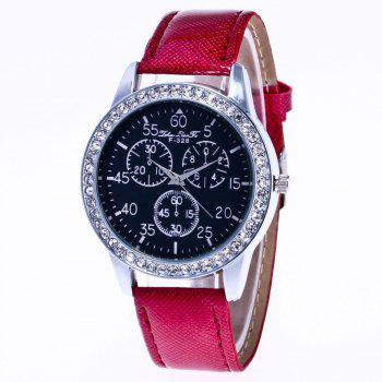 ZhouLianFa New Trend Crystal Pattern Silver Diamond Business Casual Three Quartz Watch with Gift Box - CLARET CLARET