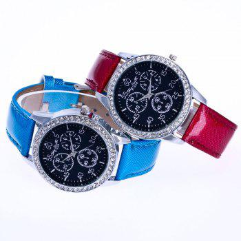 ZhouLianFa New Trend Crystal Pattern Silver Diamond Business Casual Three Quartz Watch with Gift Box - CLARET