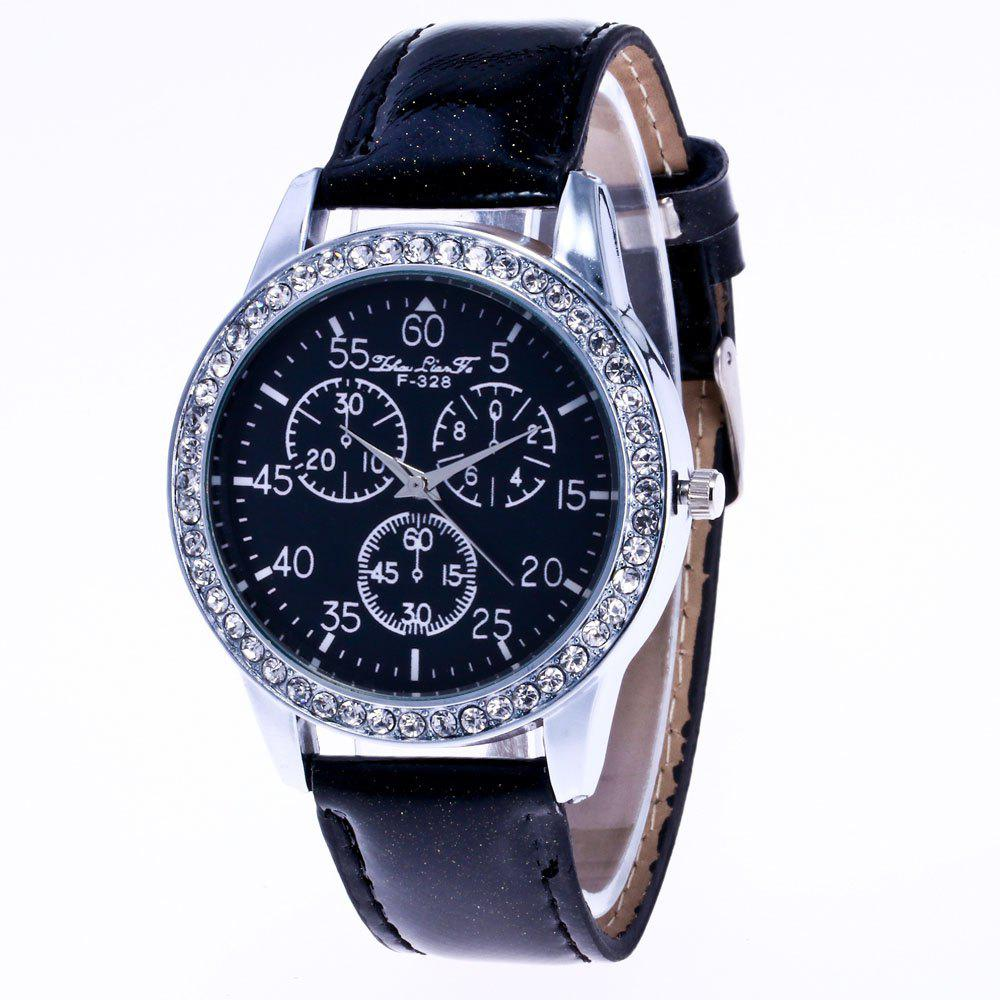 ZhouLianFa New Trend Crystal Pattern Silver Diamond Business Casual Three Quartz Watch with Gift Box - BLACK