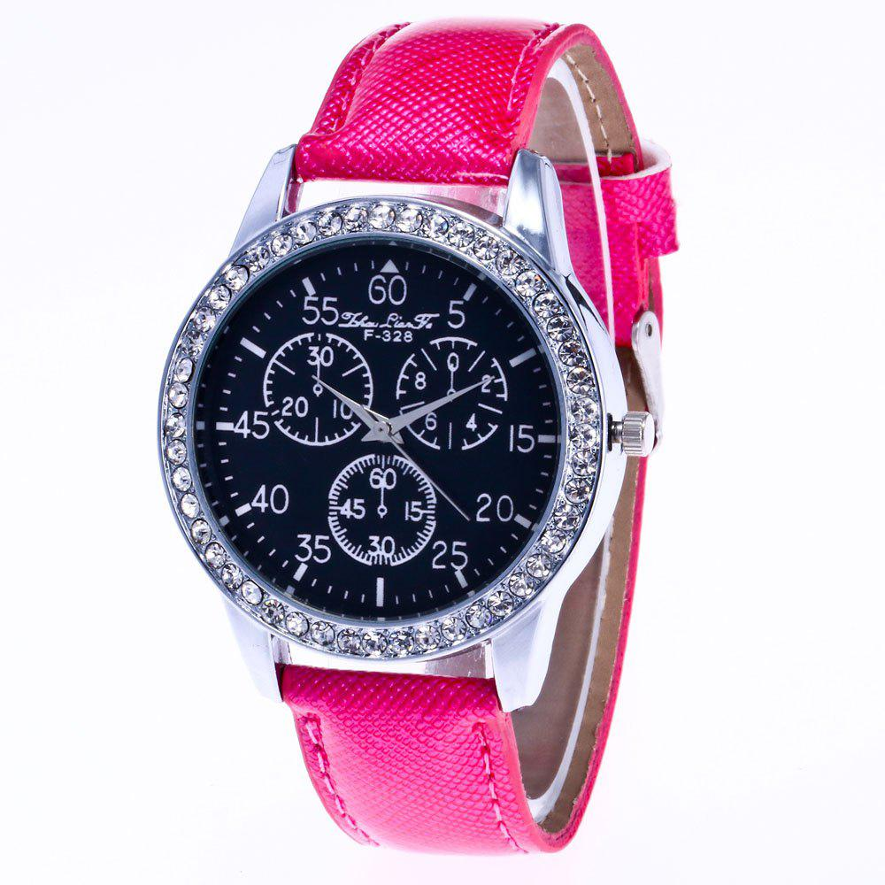 ZhouLianFa New Trend Crystal Pattern Silver Diamond Business Casual Three Quartz Watch with Gift Box - ROSE RED
